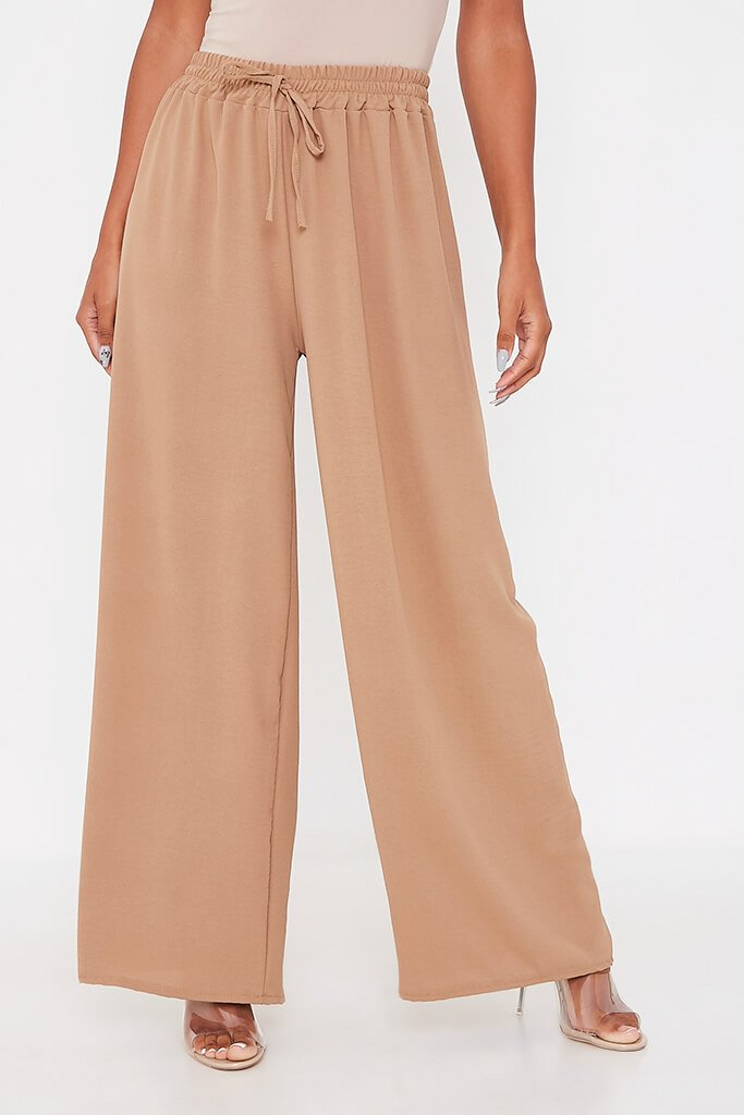 Camel Woven Tie Waist Wide Leg Trouser view 4