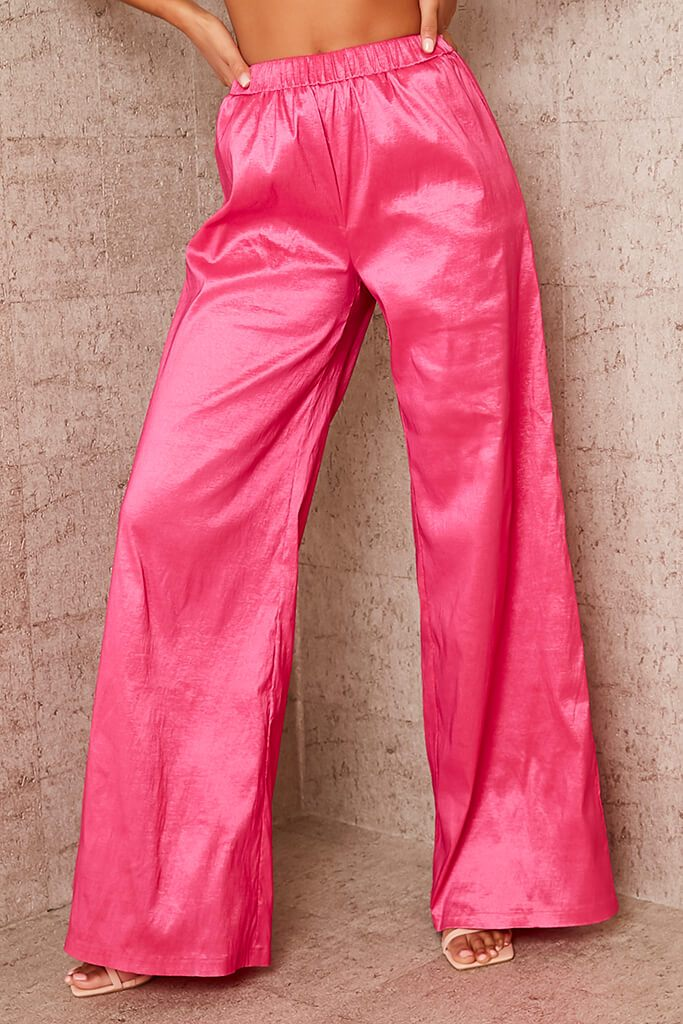 Pink Taffeta Wide Leg Trousers view 2