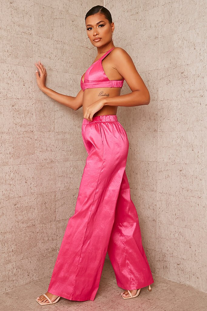 Pink Taffeta Wide Leg Trousers view 3