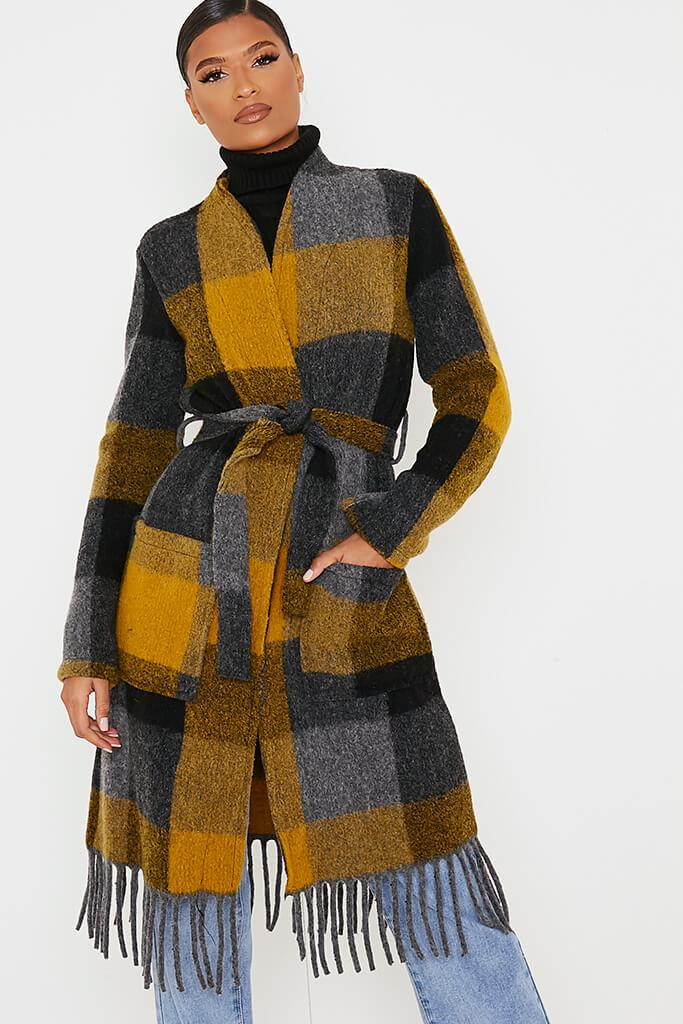 Mustard Checked Woven Coat