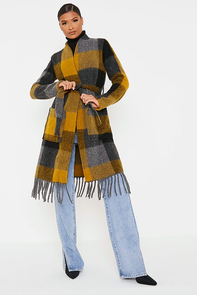 Mustard Checked Woven Coat view 2