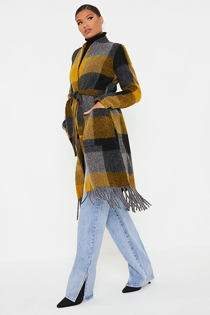 Mustard Checked Woven Coat view 3