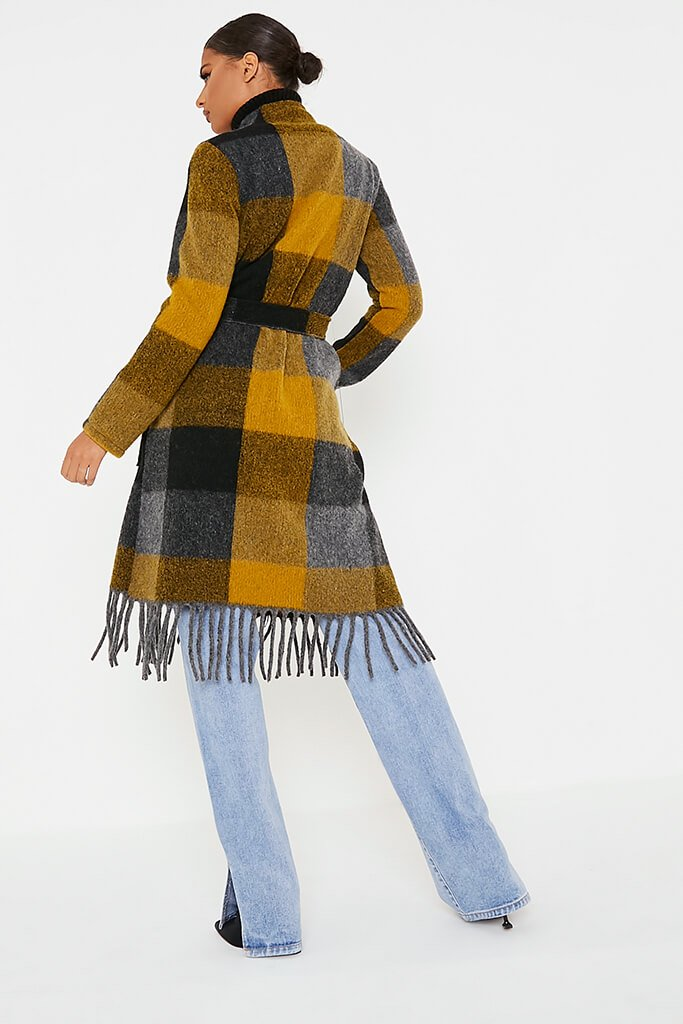 Mustard Checked Woven Coat view 4