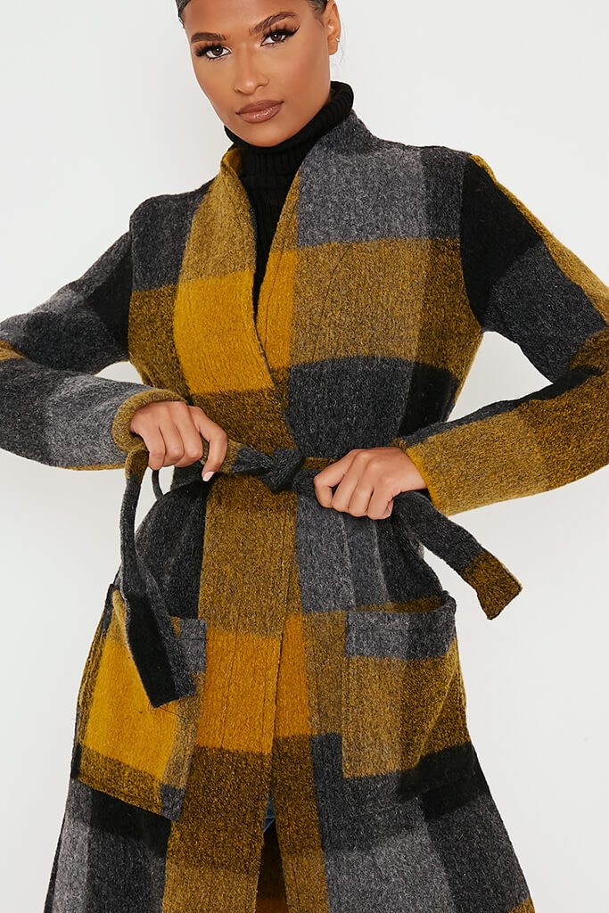 Mustard Checked Woven Coat view 5