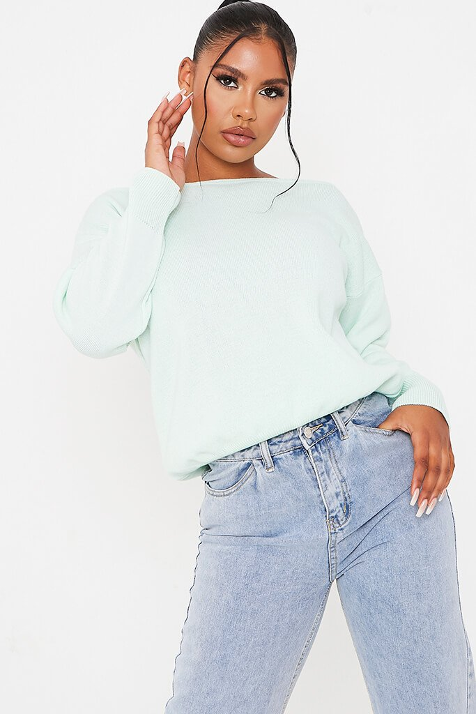 Mint Green Slash Neck Knitted Jumper view main view