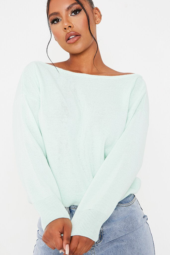 Mint Green Slash Neck Knitted Jumper view 5