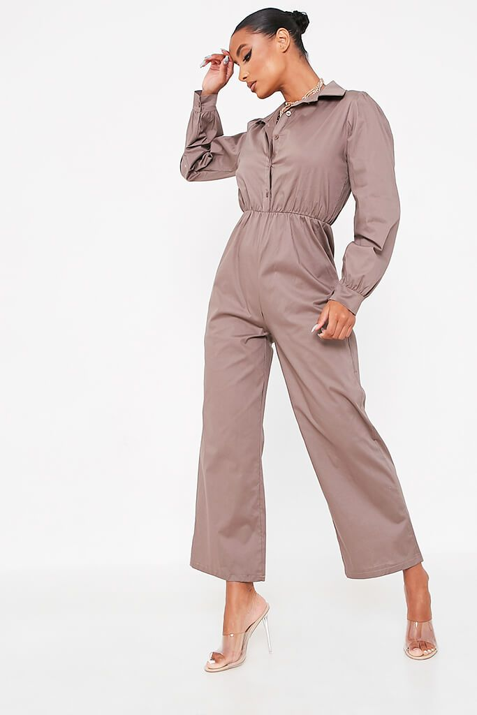 Grey Woven Puff Sleeve Wide Leg Jumpsuit view 5