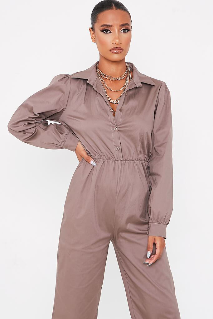 Grey Woven Puff Sleeve Wide Leg Jumpsuit view 2