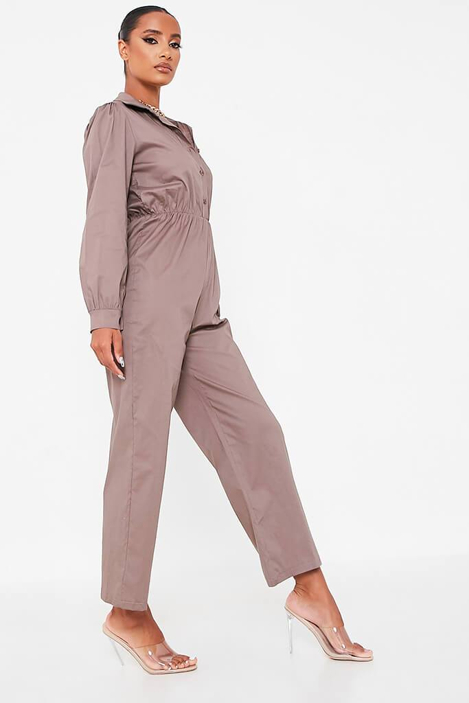Grey Woven Puff Sleeve Wide Leg Jumpsuit view 3
