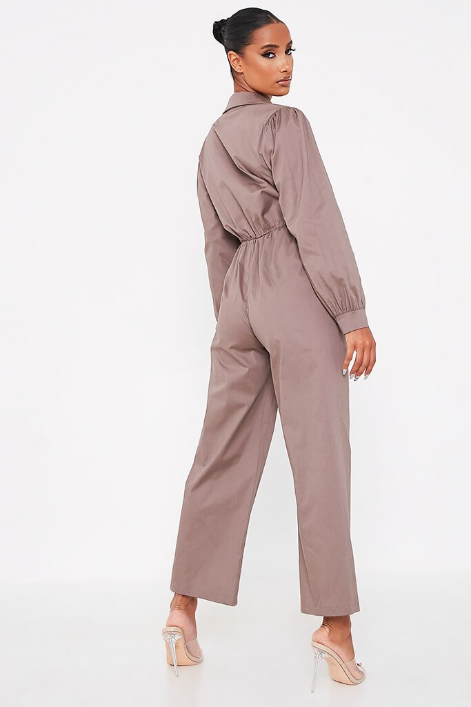 Grey Woven Puff Sleeve Wide Leg Jumpsuit view 4