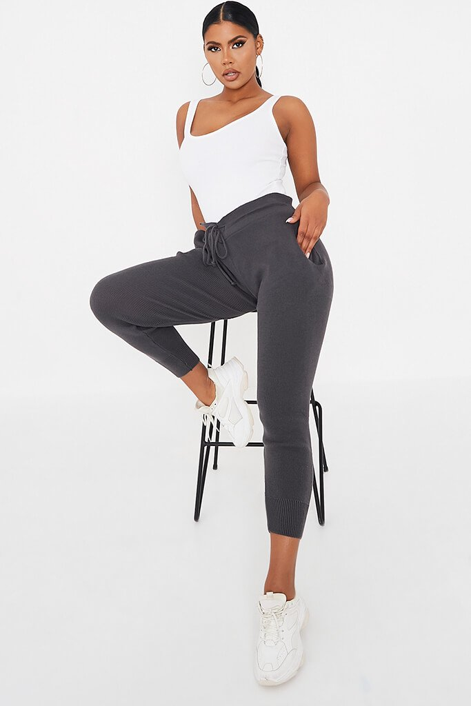 Charcoal Knitted Tie Waist Jogger