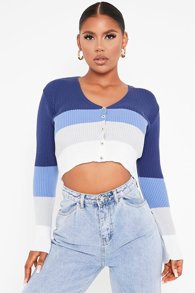 Blue Colour Block Stripe Cropped Cardigan view main view