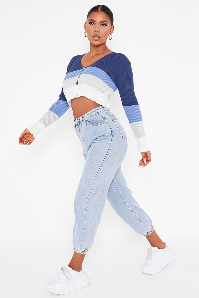 Blue Colour Block Stripe Cropped Cardigan view 3