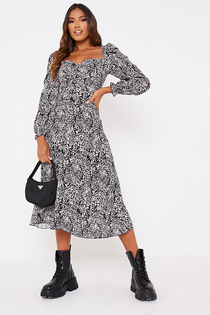 Black Floral Long Puff Sleeve Midi Smock Dress view 2