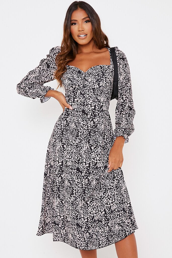 Black Floral Long Puff Sleeve Midi Smock Dress view 3