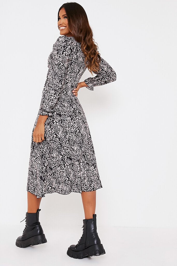 Black Floral Long Puff Sleeve Midi Smock Dress view 4