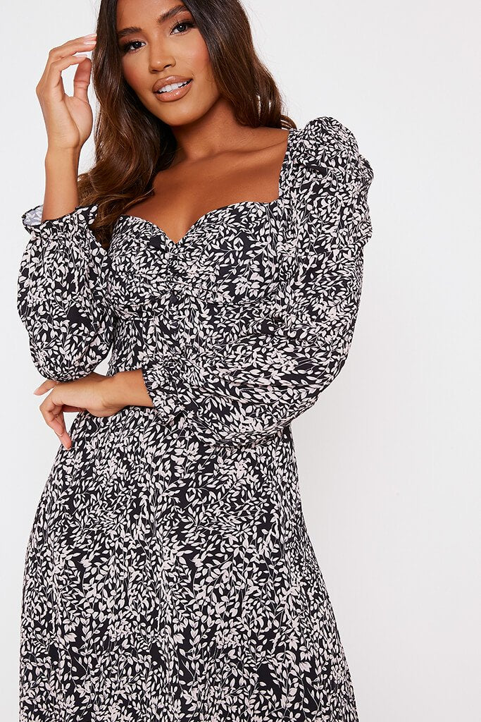 Black Floral Long Puff Sleeve Midi Smock Dress view 5