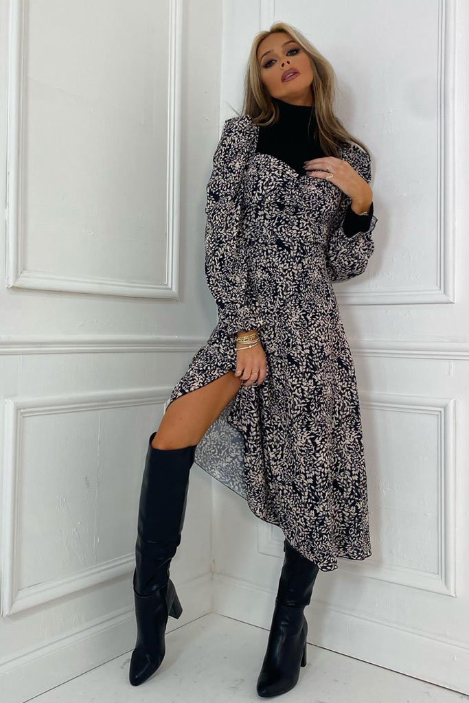 Black Floral Long Puff Sleeve Midi Smock Dress