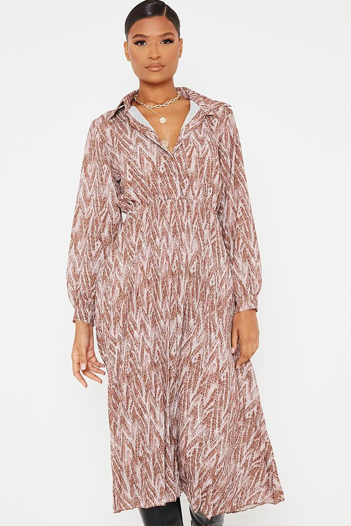 Brown Woven Snake Print Shirt Pleated Midi Dress view 2