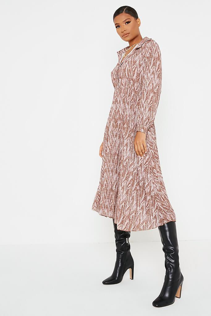 Brown Woven Snake Print Shirt Pleated Midi Dress view 3