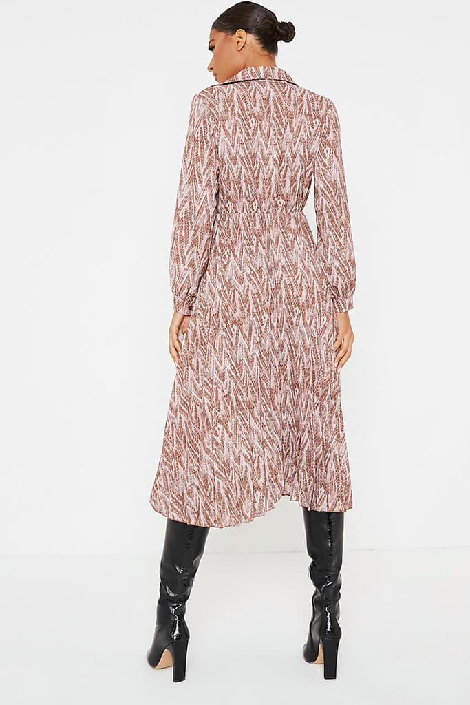 Brown Woven Snake Print Shirt Pleated Midi Dress view 4