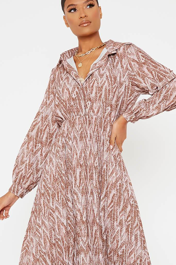 Brown Woven Snake Print Shirt Pleated Midi Dress view 5