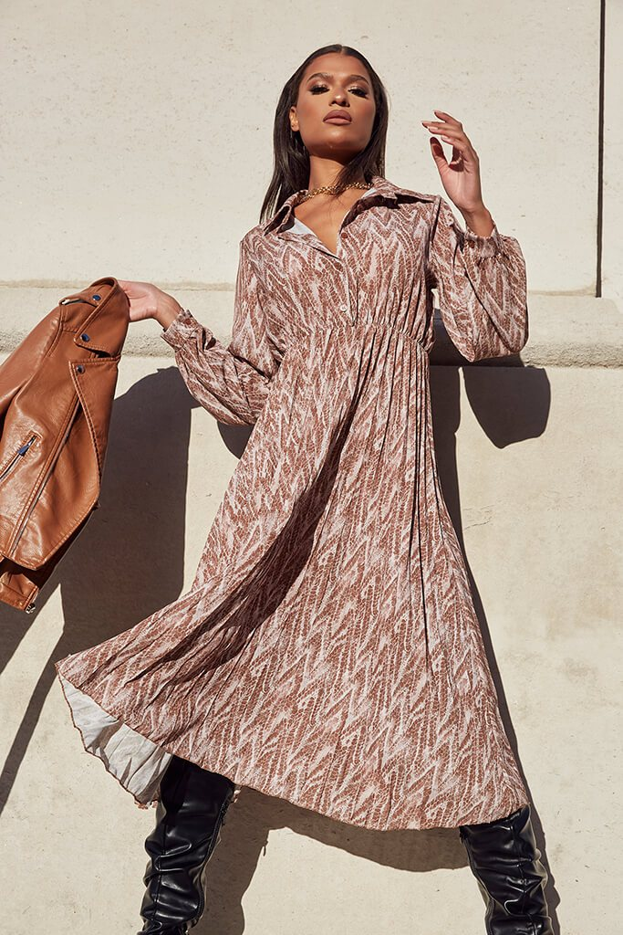 Brown Woven Snake Print Shirt Pleated Midi Dress