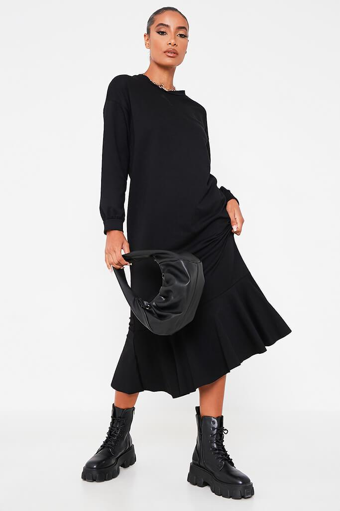 Black Puff Sleeve Frill Hem Maxi Sweater Dress