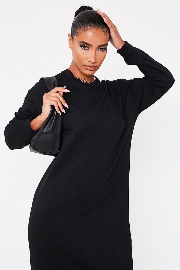 Black Puff Sleeve Frill Hem Maxi Sweater Dress view 2