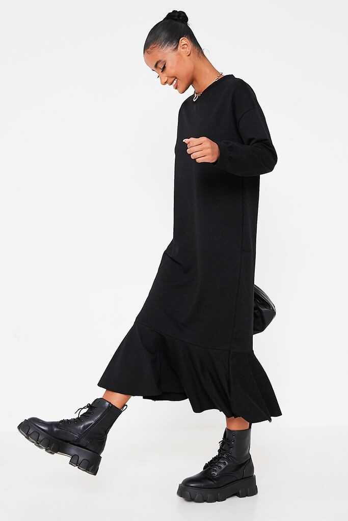 Black Puff Sleeve Frill Hem Maxi Sweater Dress view 3