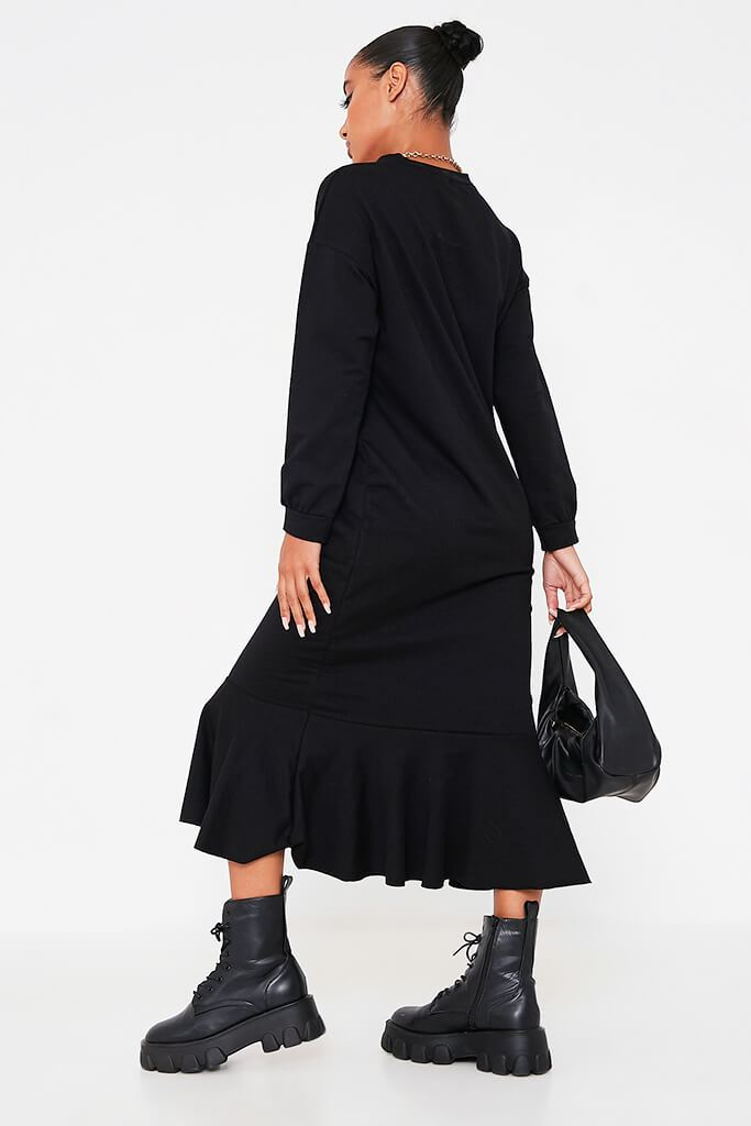 Black Puff Sleeve Frill Hem Maxi Sweater Dress view 4