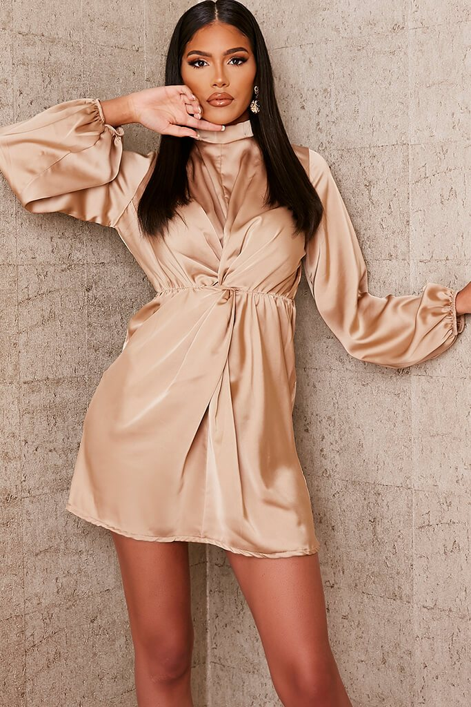 Stone Satin Baloon Sleeve Twist Front Bodycon Dress view main view