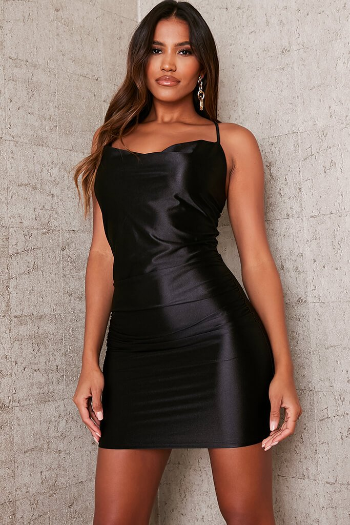 Black Satin Cowl Neck Bodycon Dress