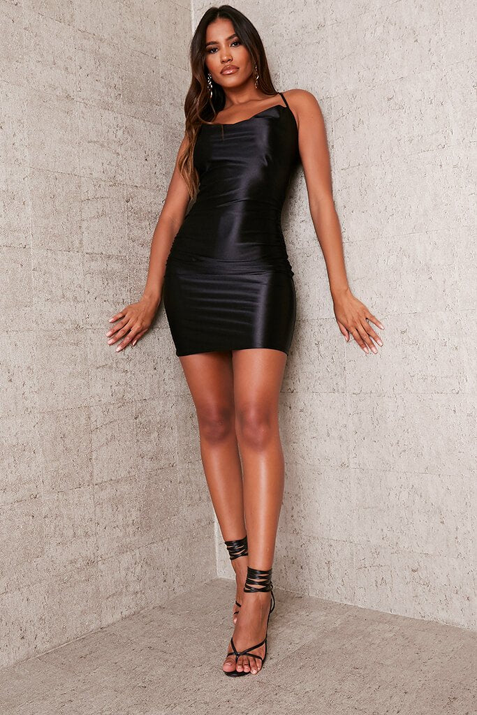 Black Satin Cowl Neck Bodycon Dress view 2