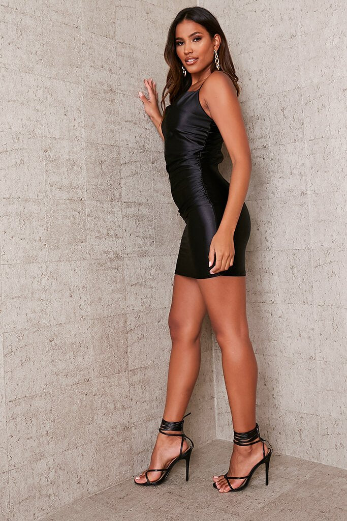Black Satin Cowl Neck Bodycon Dress view 3