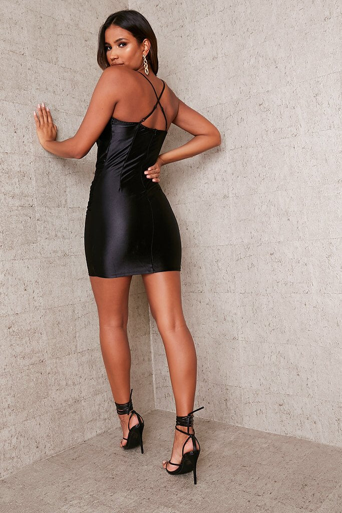 Black Satin Cowl Neck Bodycon Dress view 4