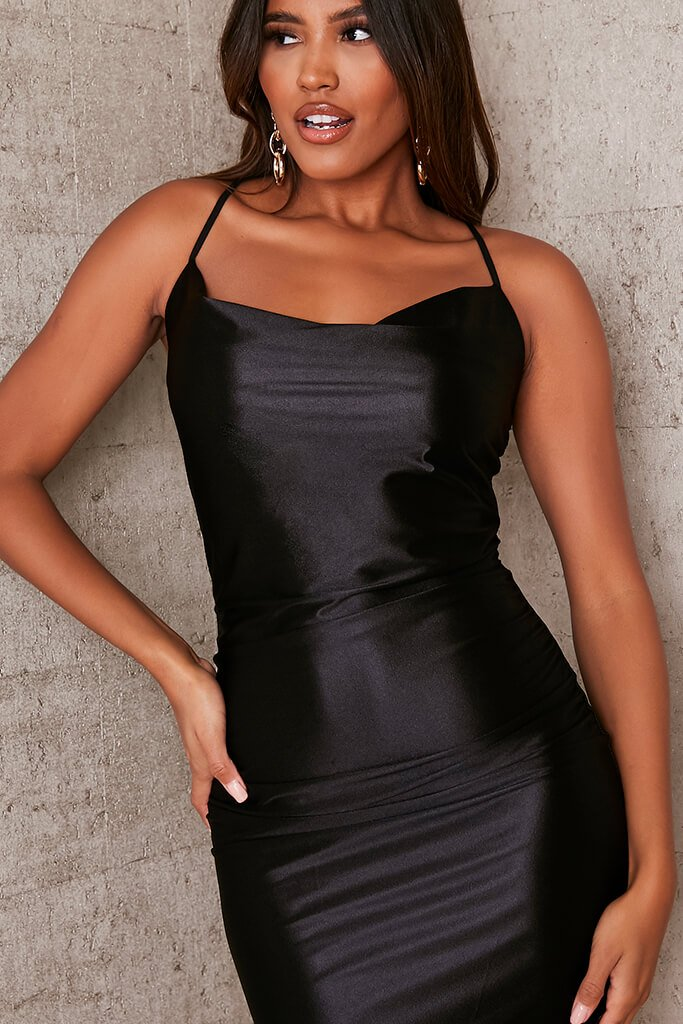 Black Satin Cowl Neck Bodycon Dress view 5