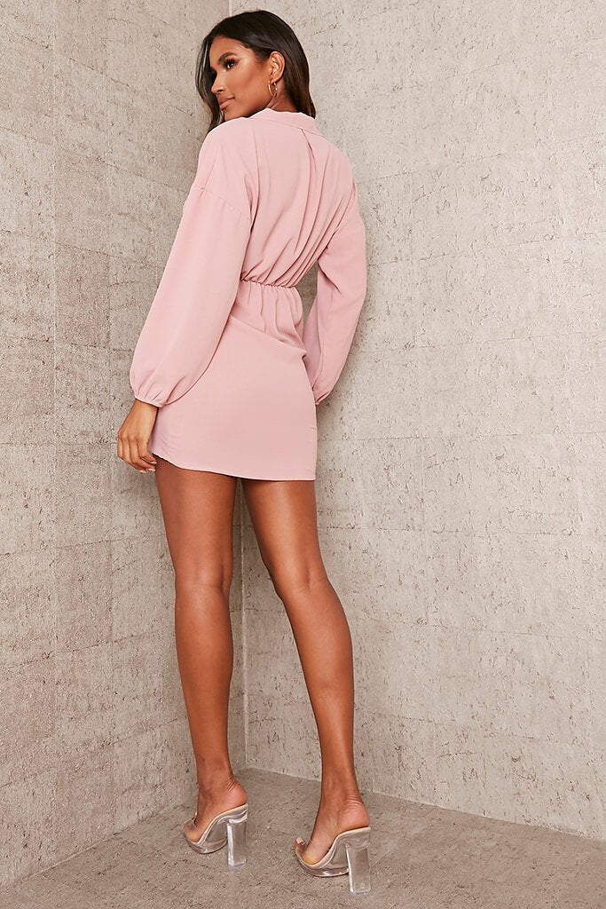 Nude Woven Puff Sleeve Drape Front Blazer Dress view 4