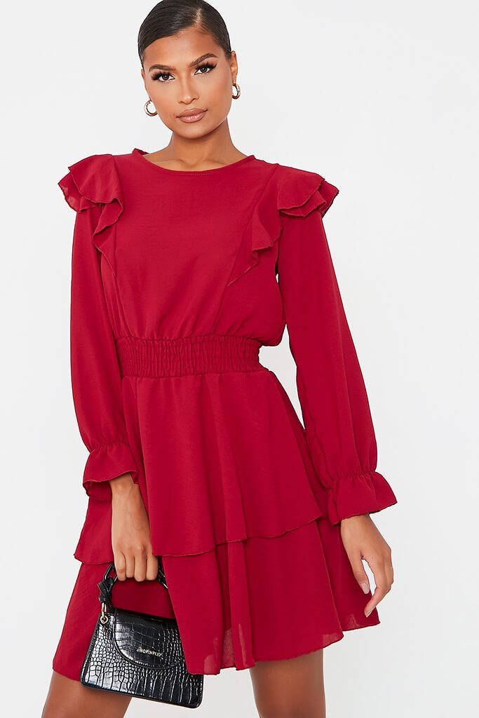 Burgundy Woven Frill Detail Shiired Waist Tiered Skater Dress view main view