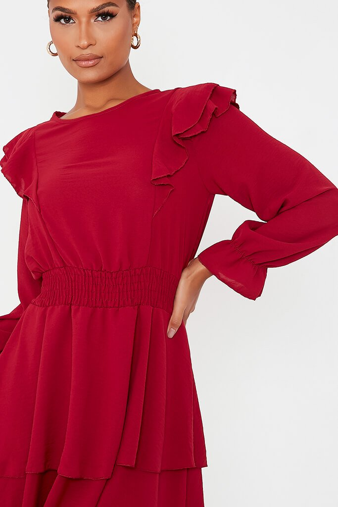 Burgundy Woven Frill Detail Shiired Waist Tiered Skater Dress view 5
