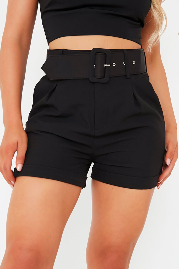 Black Belted High Waisted Shorts view 5