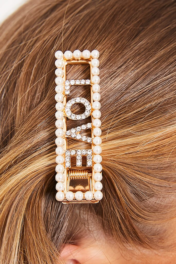 Gold Pearl Trim Love Hair Clip view 2