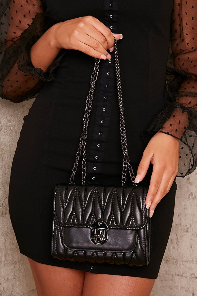 Black Quilted Chain Crossbody view 2