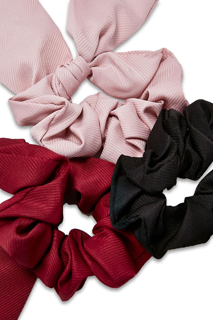 Multi 3 Pack Tie Detail Scrunchies