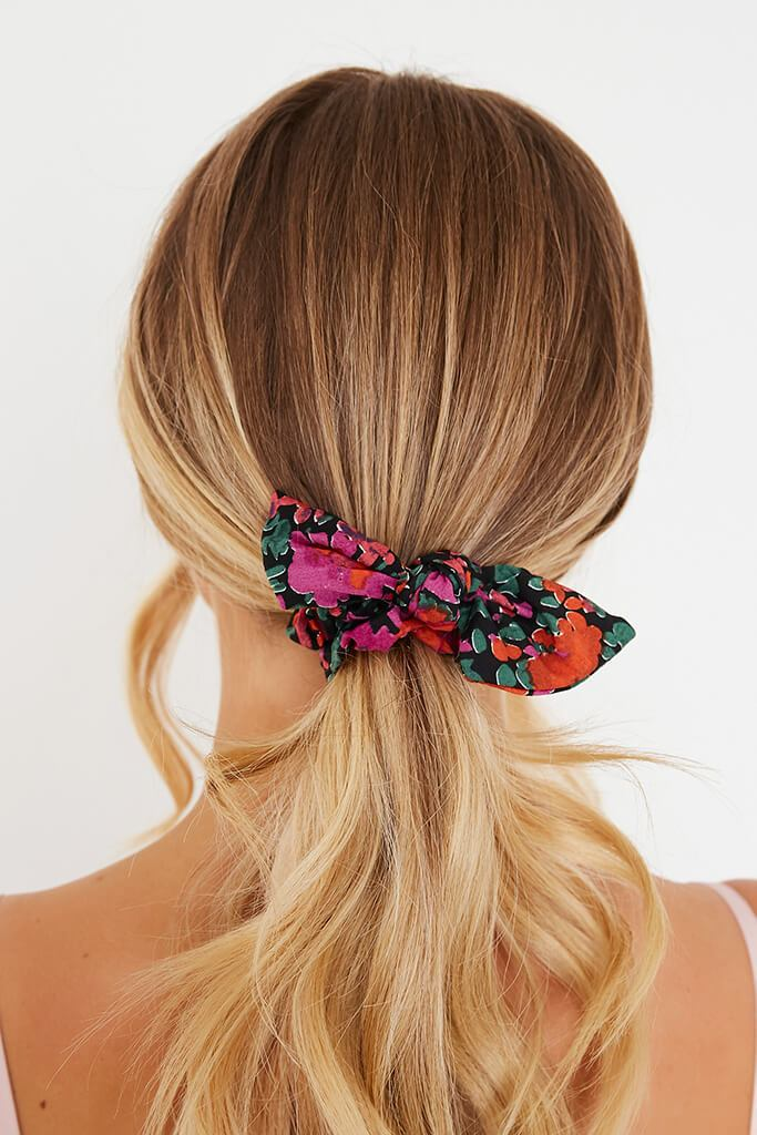 Pink Floral Tie Scrunchie view main view