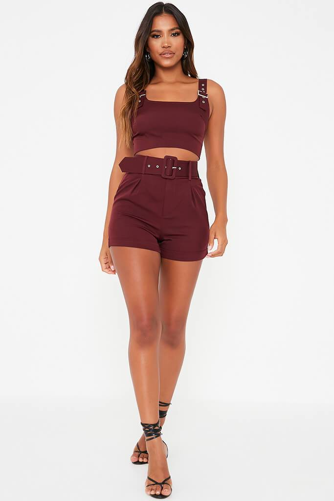 Burgundy Belted High Waisted Shorts view 3