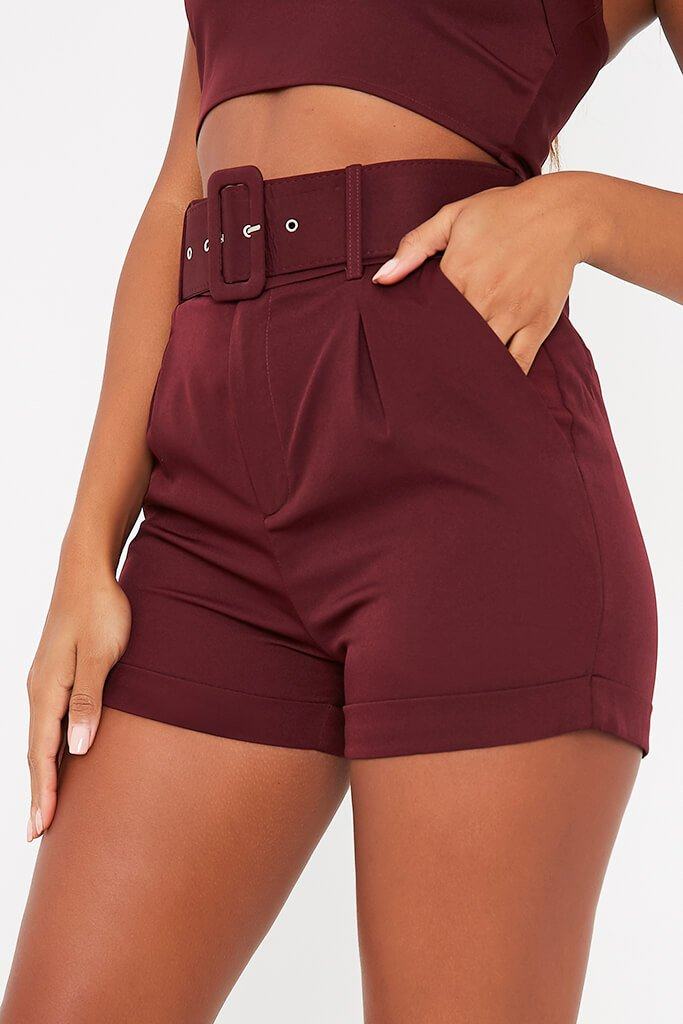 Burgundy Belted High Waisted Shorts view 5
