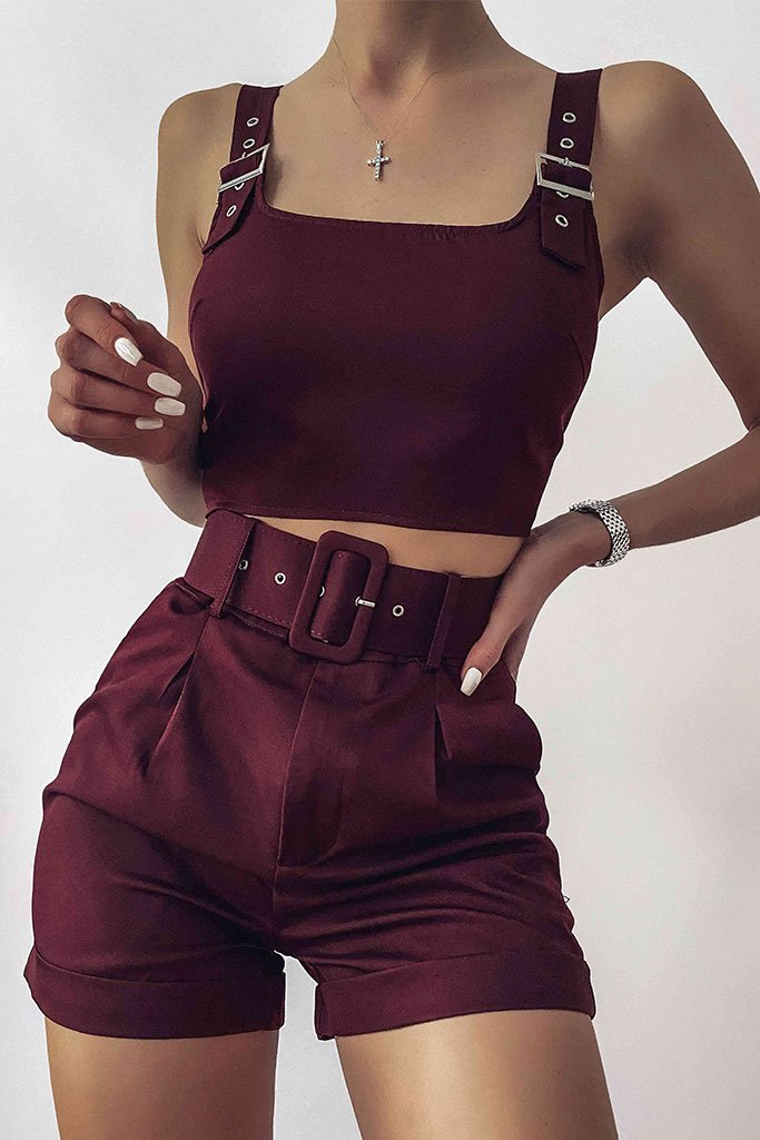 Burgundy Belted High Waisted Shorts