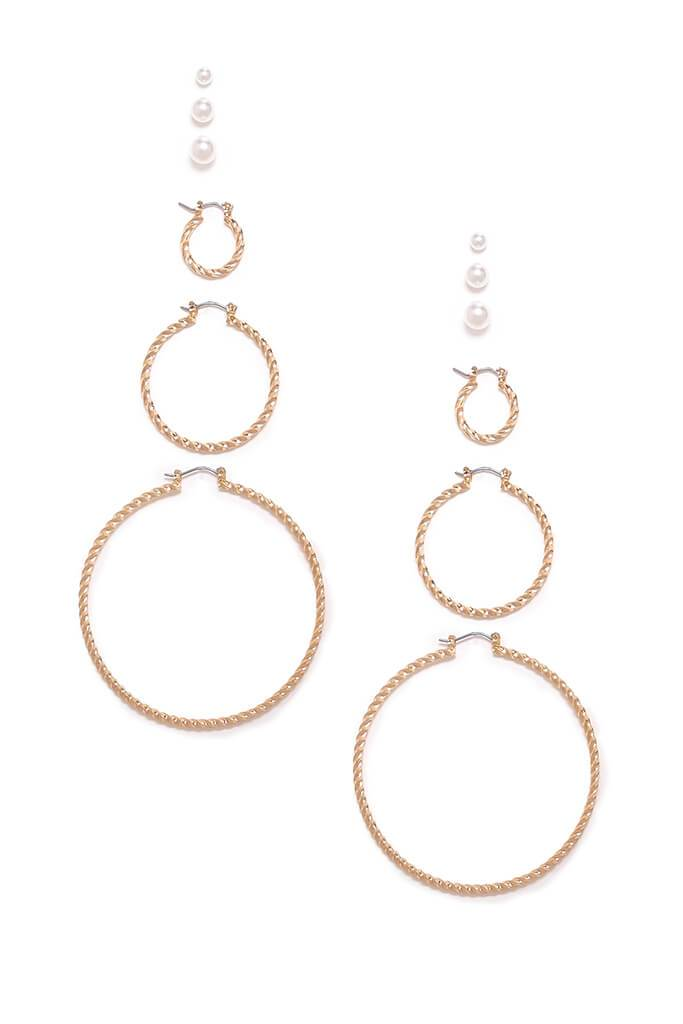 Gold Three Pack Twisted Hoops