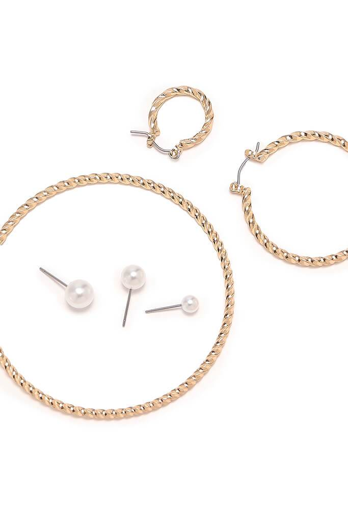 Gold Three Pack Twisted Hoops view 2